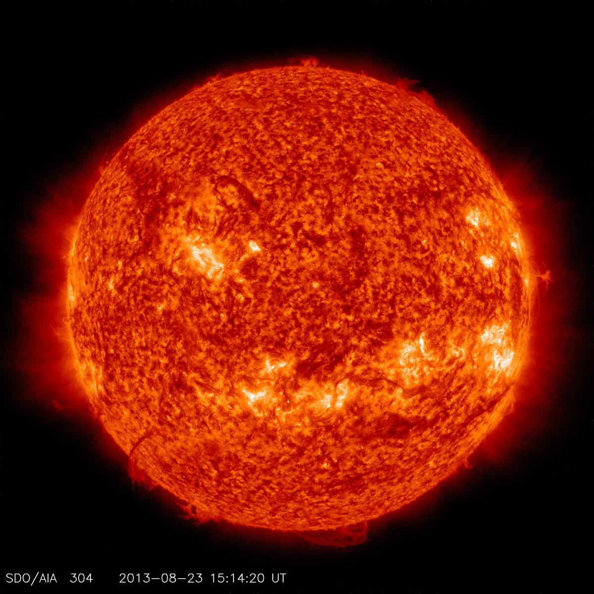 This channel is especially good at showing areas where cooler, dense plumes of plasma above the visible surface of the sun are located. Many of these features either can't be seen or appear as dark lines in the other channels. The bright areas show places