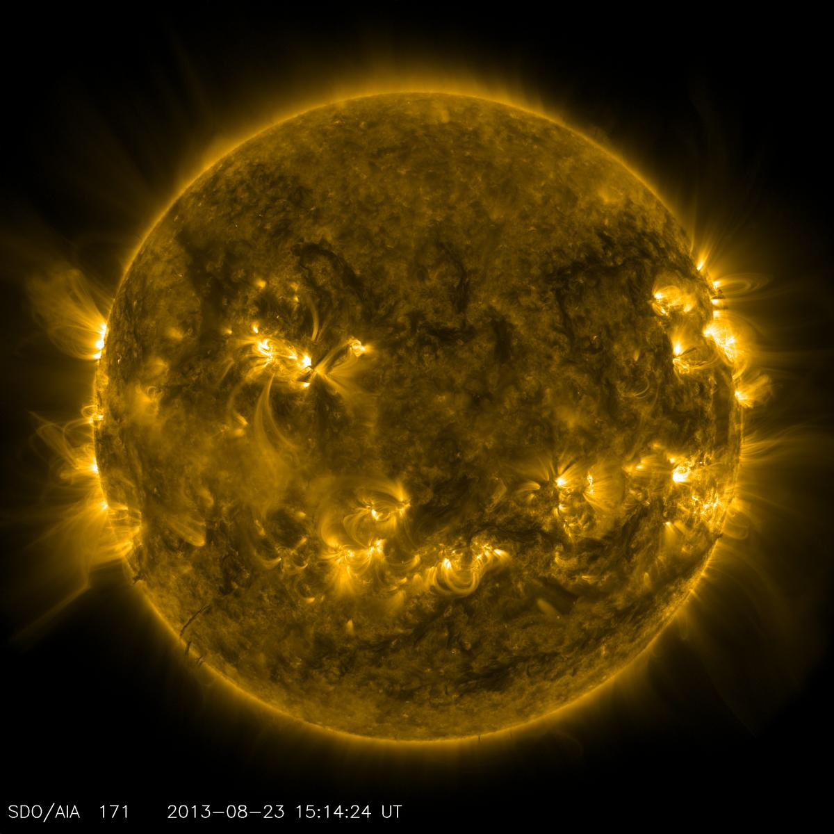 This channel is particularly good at showing coronal loops — the arcs extending off the sun where plasma moves along magnetic field lines. The brightest spots seen here are places where the magnetic field near the surface is exceptionally strong.
