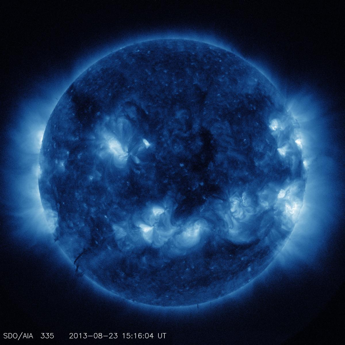 This channel highlights the active region of the outer atmosphere of the sun. Active regions, solar flares, and coronal mass ejections will appear bright here. The dark areas, or coronal holes, are places where very little radiation is emitted; they are a