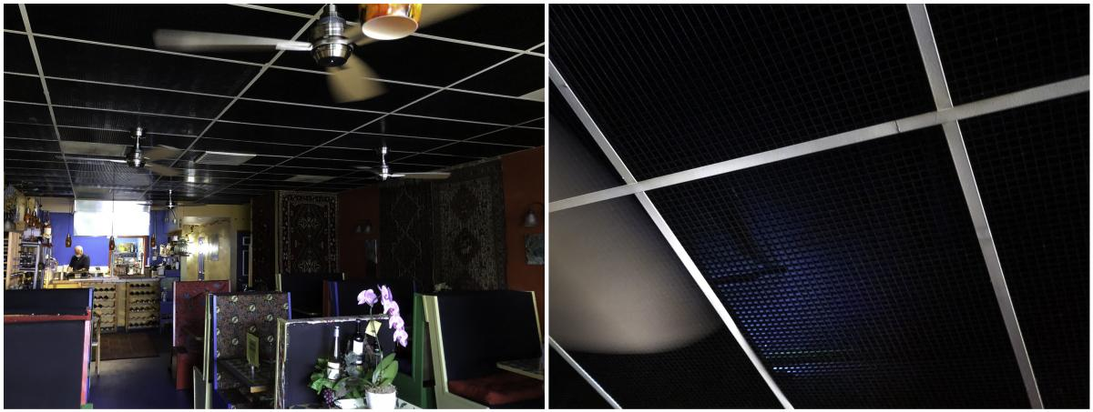 "Left: The inside of Marlaina's Mediterranean Kitchen, a Seattle-area eatery. Right: The faint blue glow of ultraviolet fixtures mounted above the restaurant's ceiling panels create a ""killing zone"" that can wipe out viral aerosols that build up in the air"