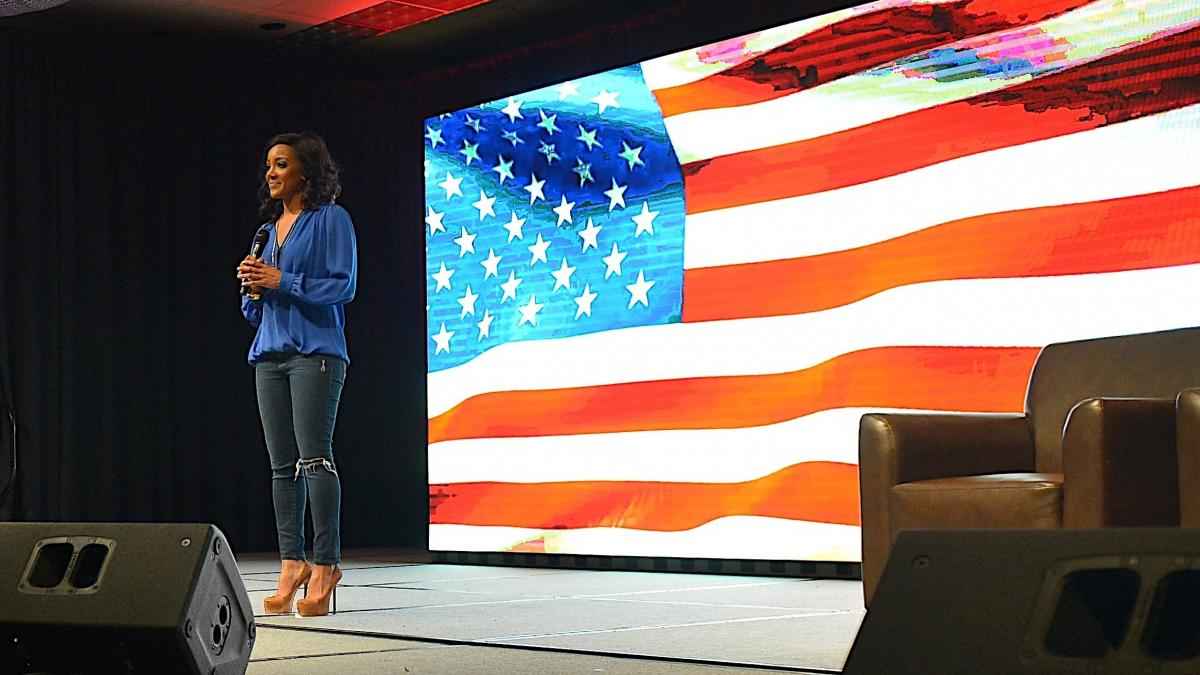 Mickey Guyton, performing at the Nashville Convention Center on Feb. 25, 2015.