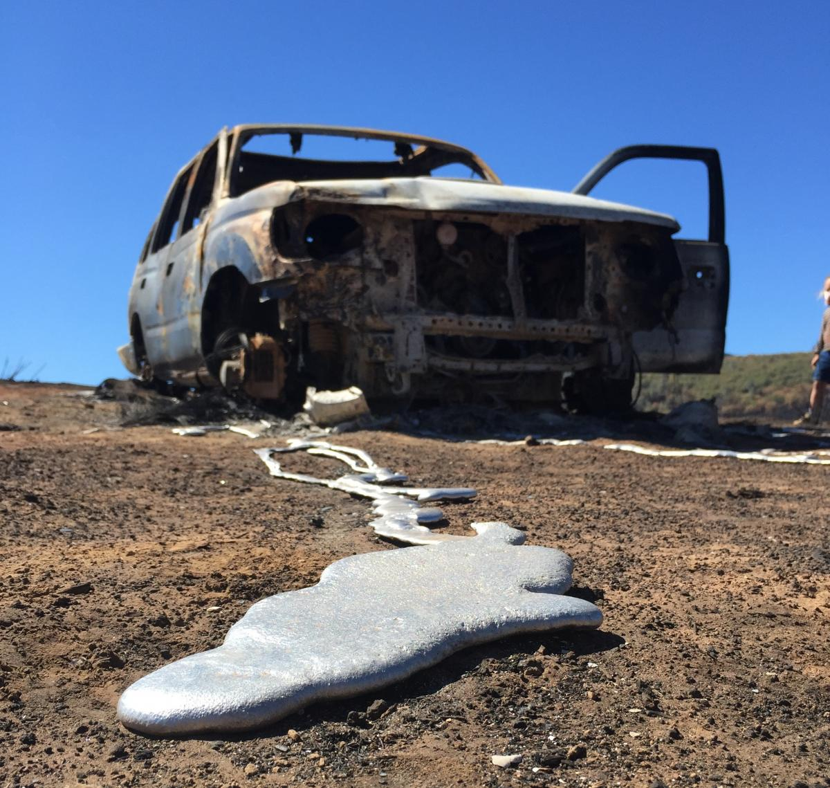 The 2015 Valley Fire in Lake County, Calif., burned Lance Williams' Toyota 4Runner wheels into streams of metal.