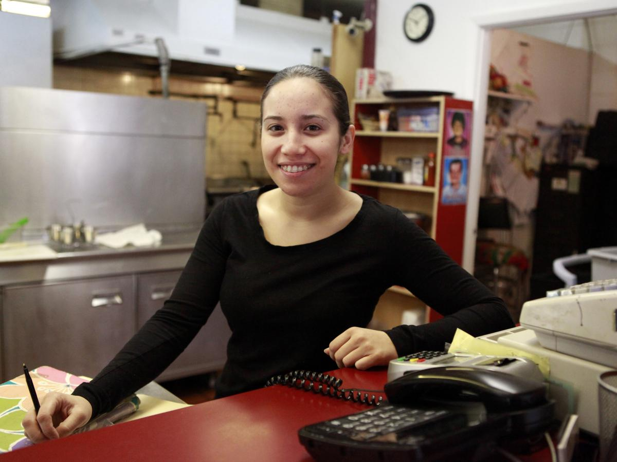 Stacey Moya has worked at her family's restaurant  Ricos Tacos Moya for several years. She says new immigration laws scared away customers.