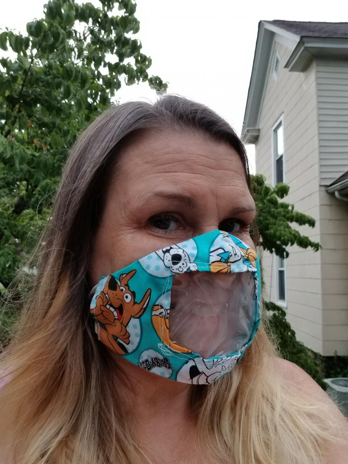 Karen Franks, the volunteer who made the mask used by Jessica Cournoyer and Blake Blackmon when their baby was born, is a North Carolina elementary school music teacher who recently turned to sewing masks — mostly clear ones — to help her community.