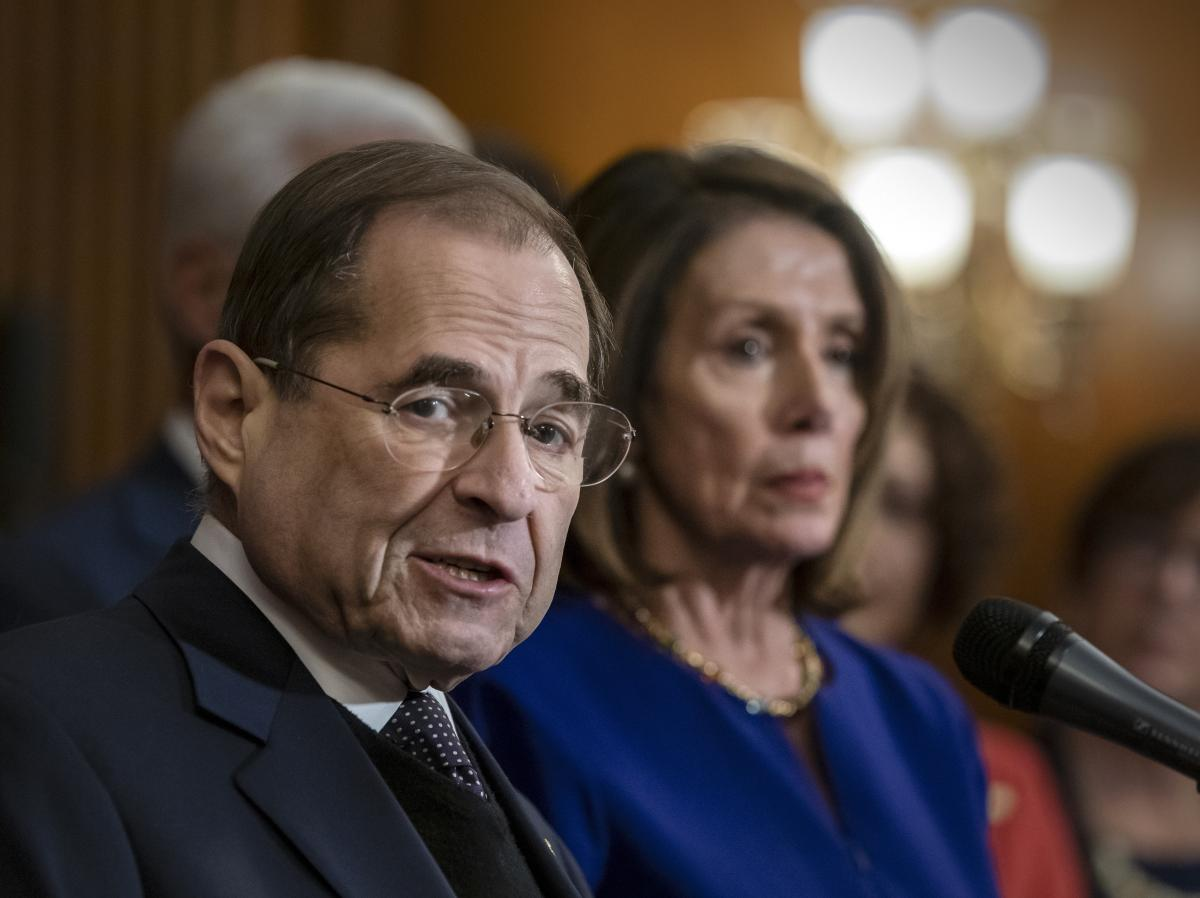 House Judiciary Committee Chairman Jerrold Nadler joined at right by Speaker of the House Nancy Pelosi.