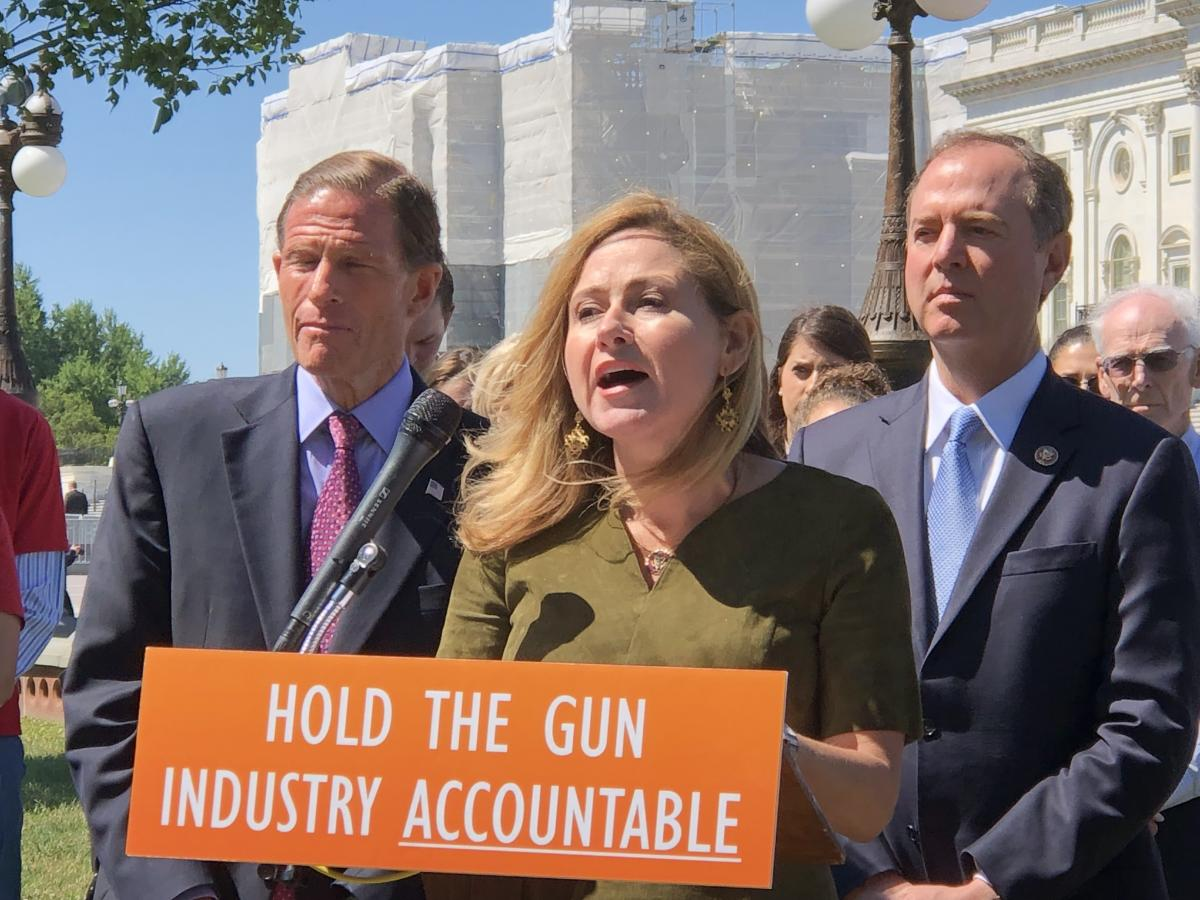Mucarsel-Powell speaks at the news conference with Blumenthal (left) and Schiff.