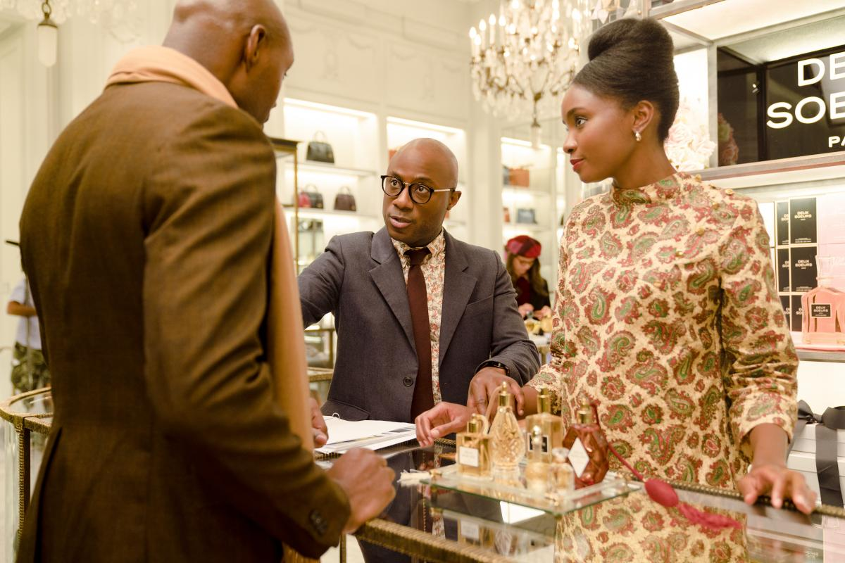 Barry Jenkins (center) directs actor KiKi Layne and another on the set of If Beale Street Could Talk.