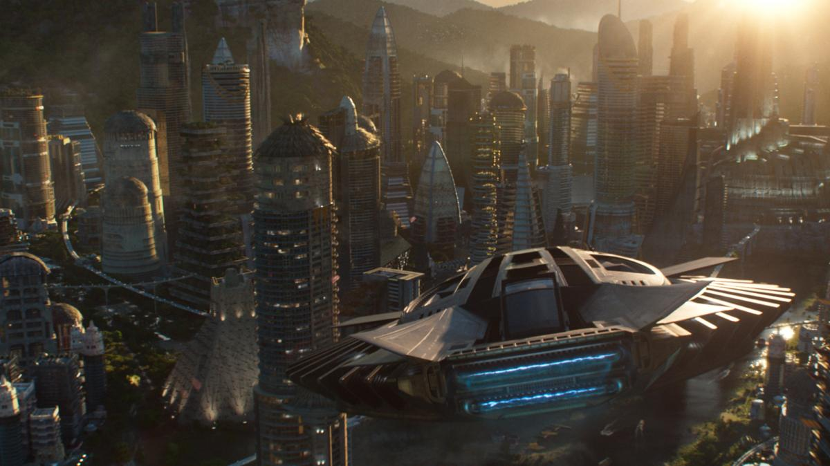 The Talon Fighter flies over Wakanda in Black Panther.
