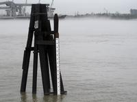 The Mississippi River is flowing at near normal levels again in New Orleans, as measured by this old-fashioned staff gauge behind the U.S. Army Corps of Engineers New Orleans District office. The Corps has been fighting saltwater encroaching up the mouth