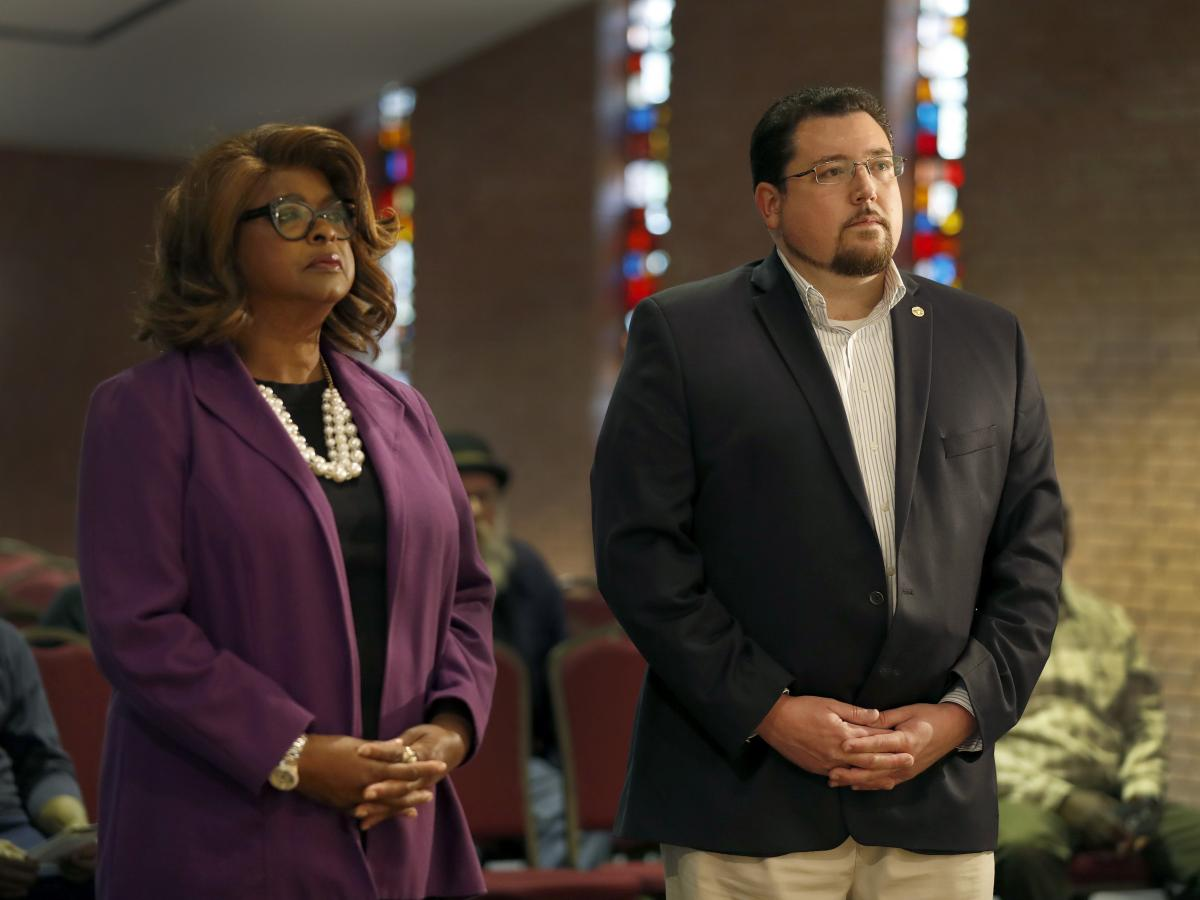 Councilwoman Ella Jones, left, will succeed James Knowles III as the mayor of Ferguson, Mo. This photo from March 2017, the same year Jones came up short in her bid to oust him as mayor.