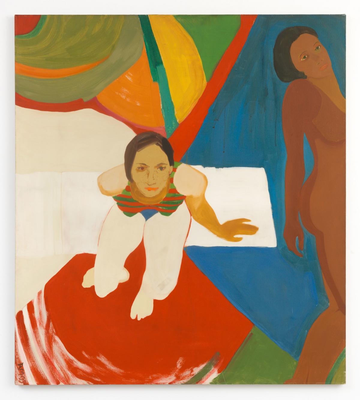 Emma Amos, Seated Figure and Nude, 1966
