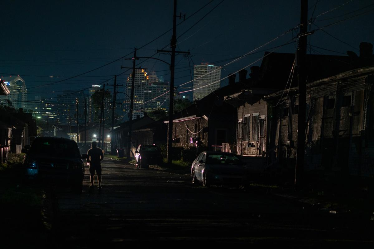 Lights are on in downtown New Orleans while Central City remains dark.