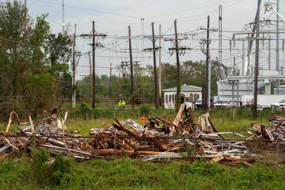 An Entergy transmission tower in the New Orleans suburb of Avondale collapsed during Ida.