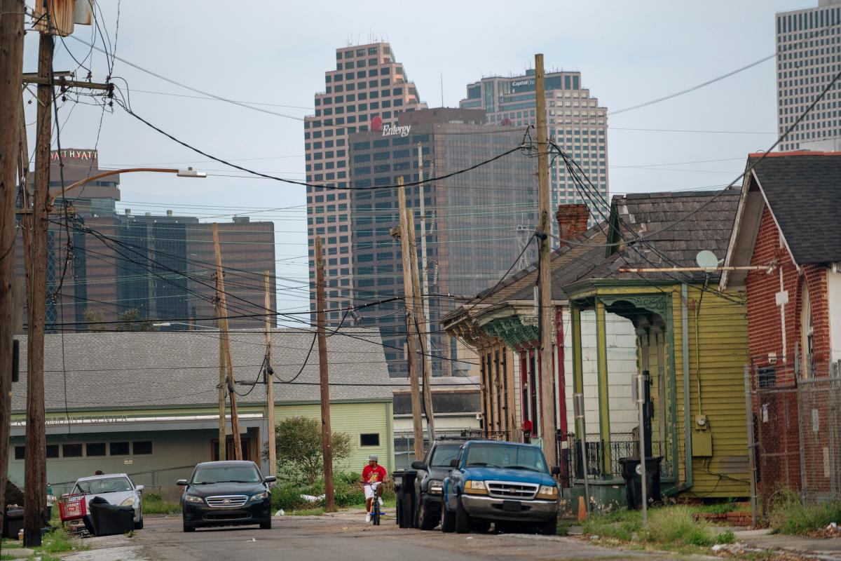The Entergy building, seen from Magnolia Street in the Central City area of New Orleans.