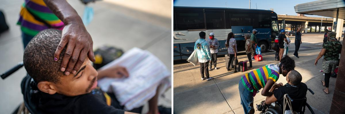 Hollins comforts Carl while they wait to board a Greyhound bus in order to leave New Orleans for Atlanta, fleeing dangerous heat.