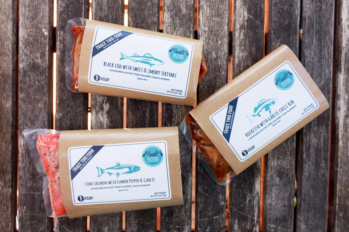 Packaging for some of Salty Girl's marinated, ready-to-cook fish. The company sources its fish directly from California fishermen. Customers can go online to find out more about where their fish came from, who caught it and how, and other sustainability i