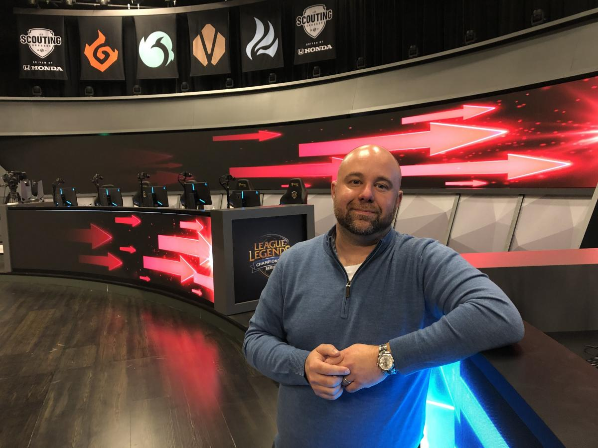 Esports Commissioner Chris Greeley in the League of Legends Battle Arena, in Los Angeles. This is where the regular season games take place. It seats about 375 people. Greeley has been Commissioner of the League Championship Series (LCS) for the past two