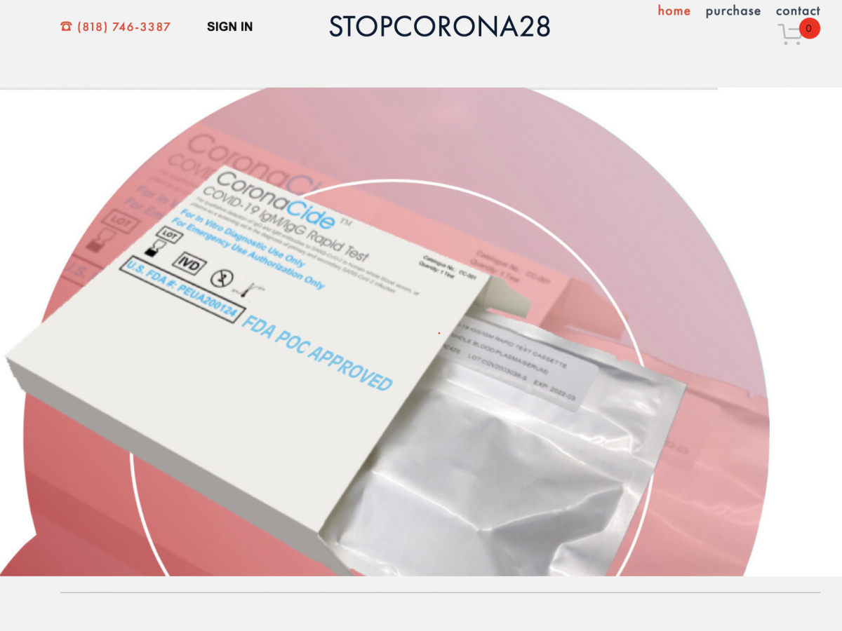 The FDA says it has not approved any at-home tests for the coronavirus. The site StopCorona28.com, as seen on March 24, claimed to sell at-home test kits and claimed to have FDA approval.