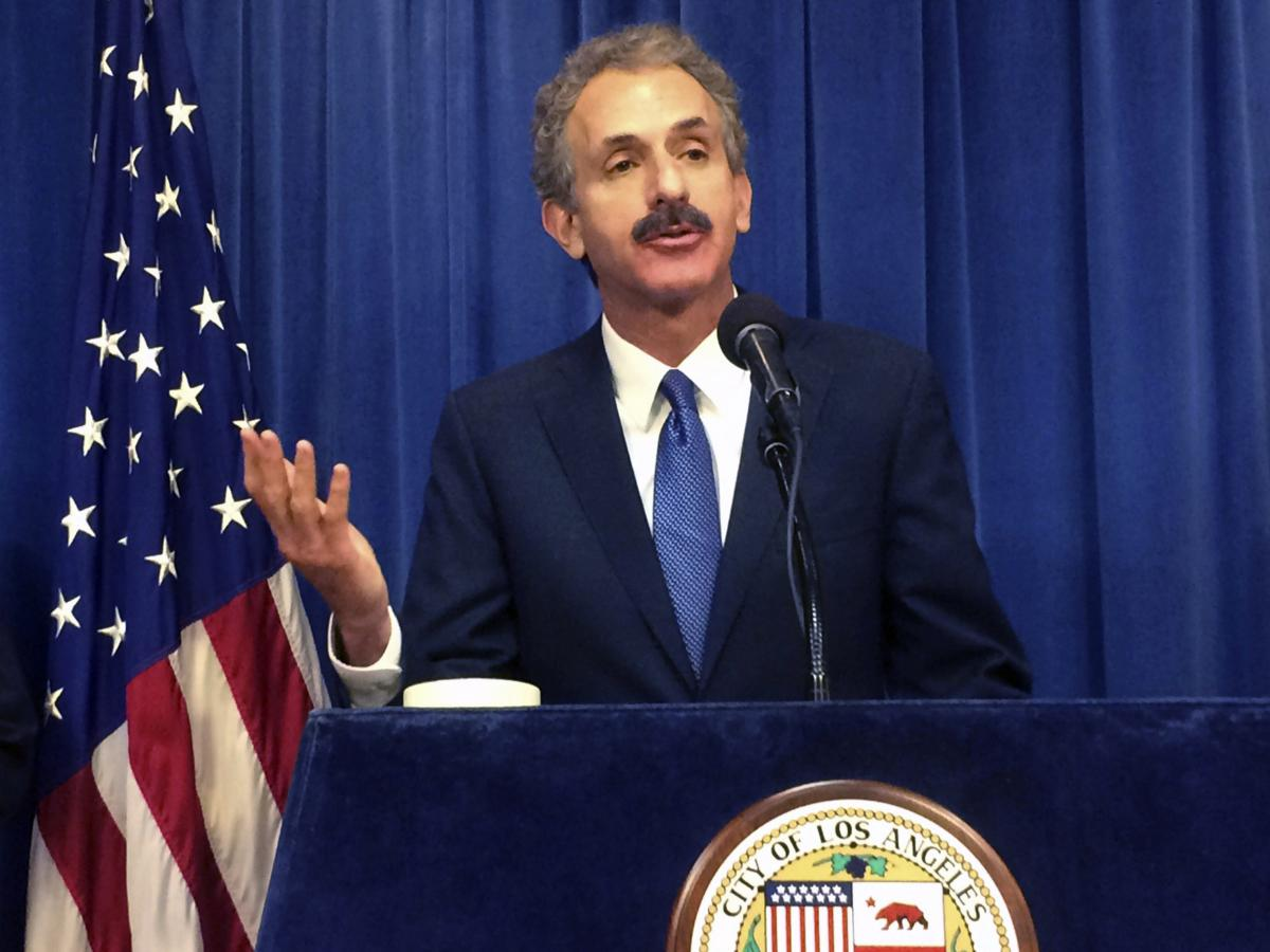 """Los Angeles City Attorney Mike Feuer, seen here in 2017, says his office has asked Wellness Matrix Group to """"cease and desist"""" from selling purported at-home COVID-19 tests. Because the FDA has stated that no at-home test kits are approved, Feuer says, """"a"""