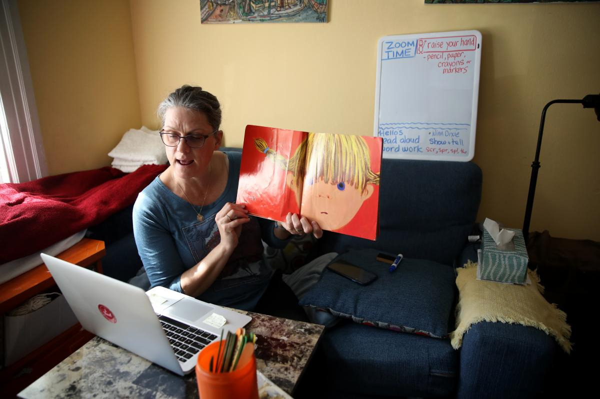 Leanne Francis, first-grade teacher at Harvey Milk Civil Rights Academy, conducts an online class on March 20 from her living room in San Francisco.