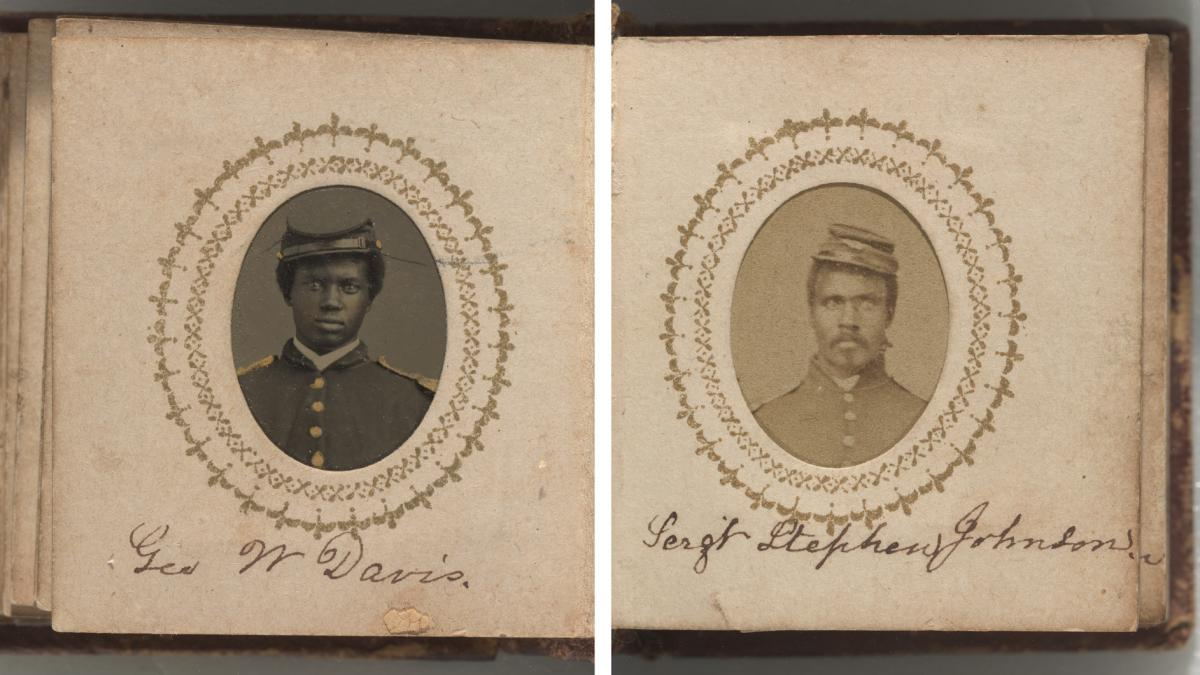 Portraits of George W. Davis (left) and Sgt. Stephen Johnson.