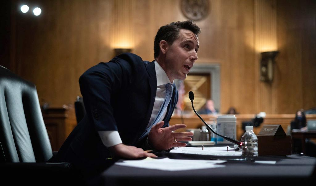 Sen. Josh Hawley, R-Mo., questions Mayorkas during the Senate committee hearing Thursday. Republicans have blamed a surge at the border on the Biden administration.