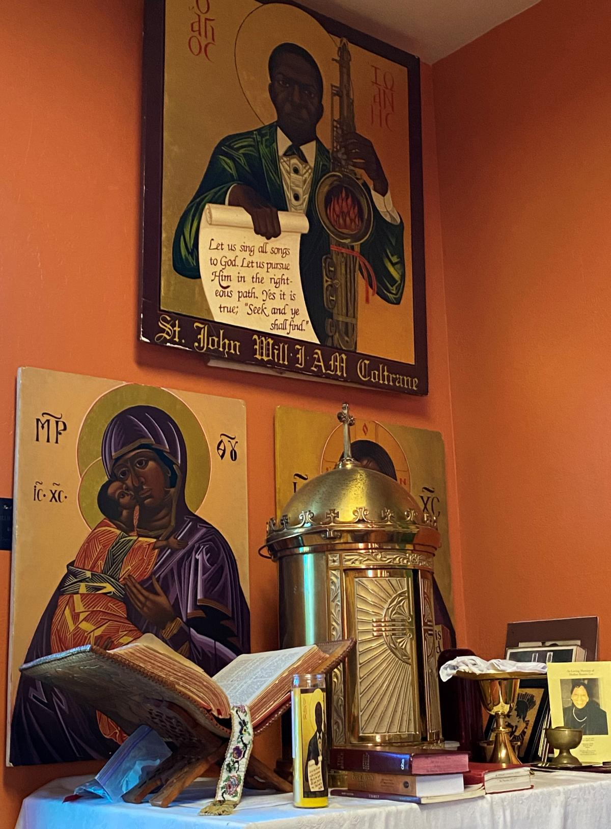 Byzantine-style icons, including ones of John Coltrane, the Virgin Mary and Jesus at the Coltrane-devoted church.