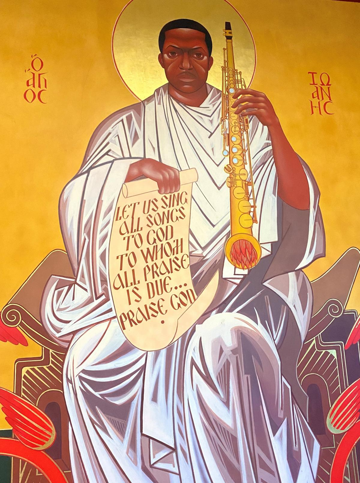 "A Byzantine-style icon of John Coltrane at the church. The inscription to the left and right of Coltrane's body reads, in Greek, ""St. John."""