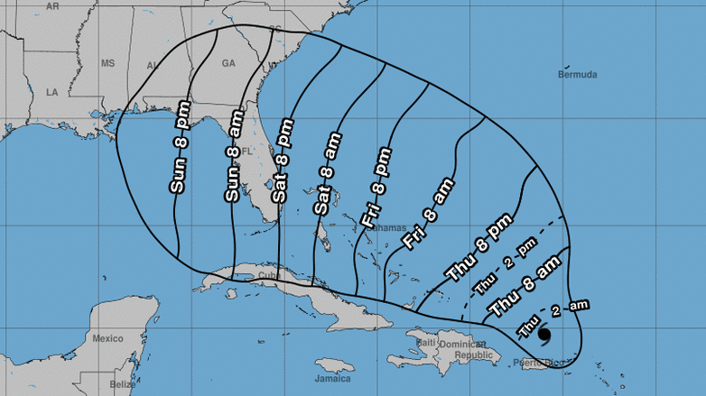 Estimated time that tropical storm-force winds will arrive.
