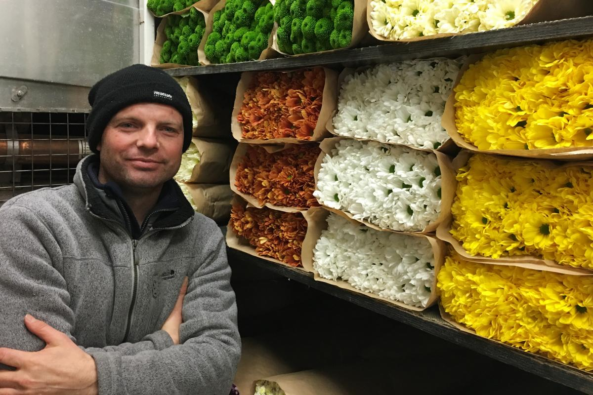Each week, Barry Snapper brings his flowers through the Channel Tunnel in a refrigerated tractor-trailer and parks down the walk from Ashby's shop.