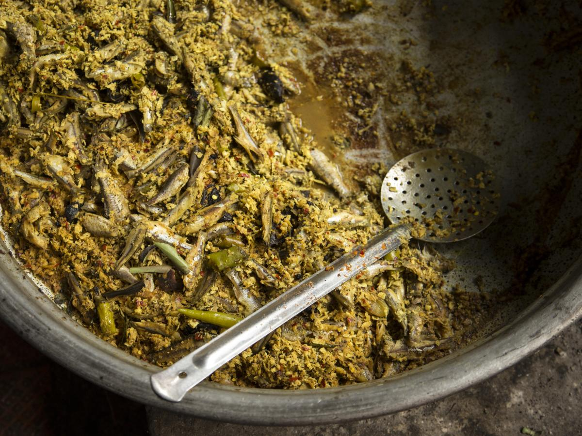 On offer at Chungam: A salad of sardines tossed with red chiles, turmeric, lime and freshly grated coconut flesh.