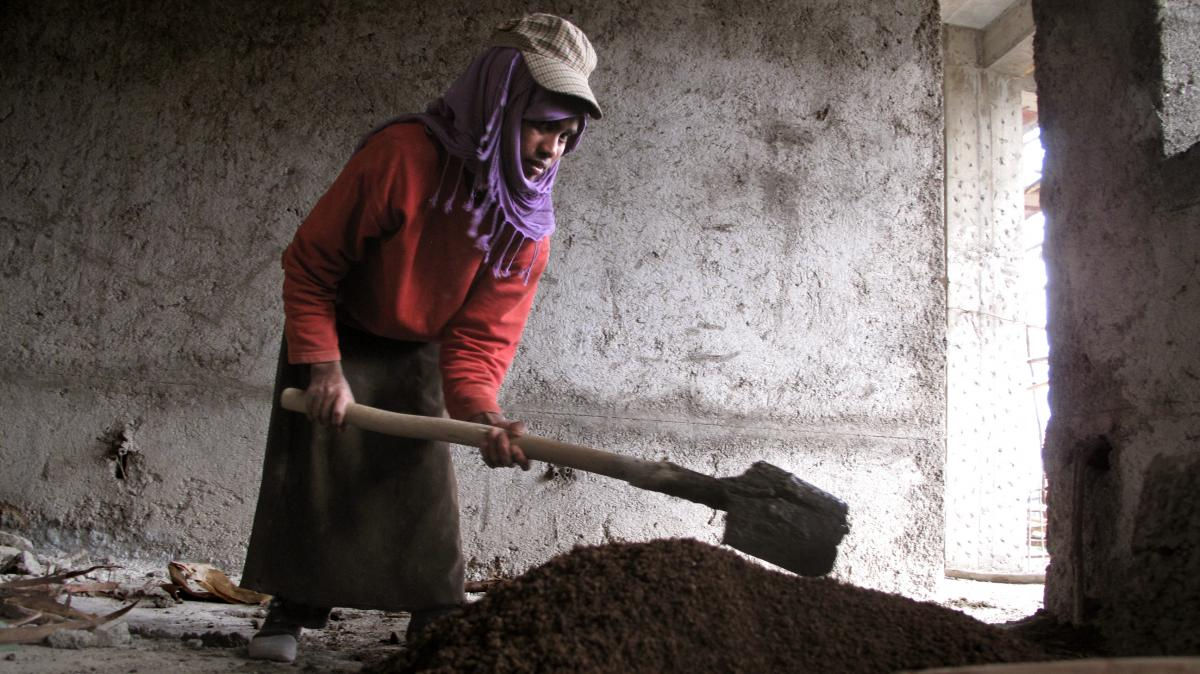 """Mekedes Getachew, 19, has been working at construction sites in Addis Ababa, Ethiopia, since she was 15 years old. Except for the heaviest lifting, she says, the laborers """"all do the same work and we don't really say this is a man's job, but when it comes"""