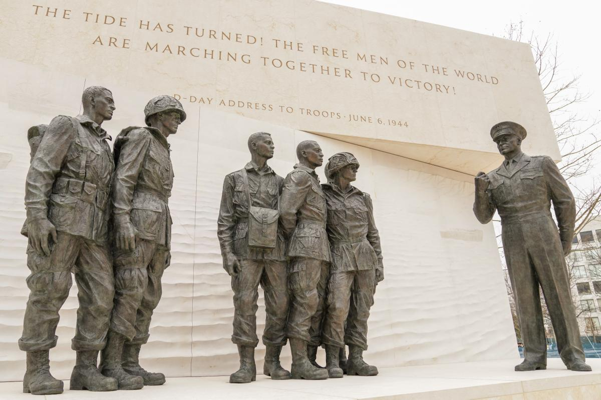 Eisenhower's words — such as his D-Day address to the troops — are inscribed in the memorial.