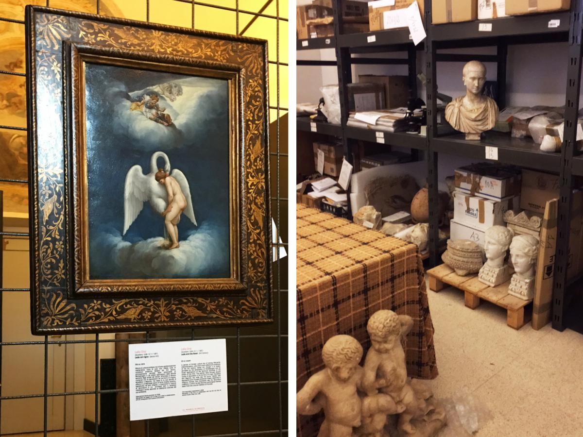 """(Left) A painting of """"Leda and the Swan"""" by 16th century artist Lelio Orsi was recovered in New York City. (Right) A storage room contains recovered works."""