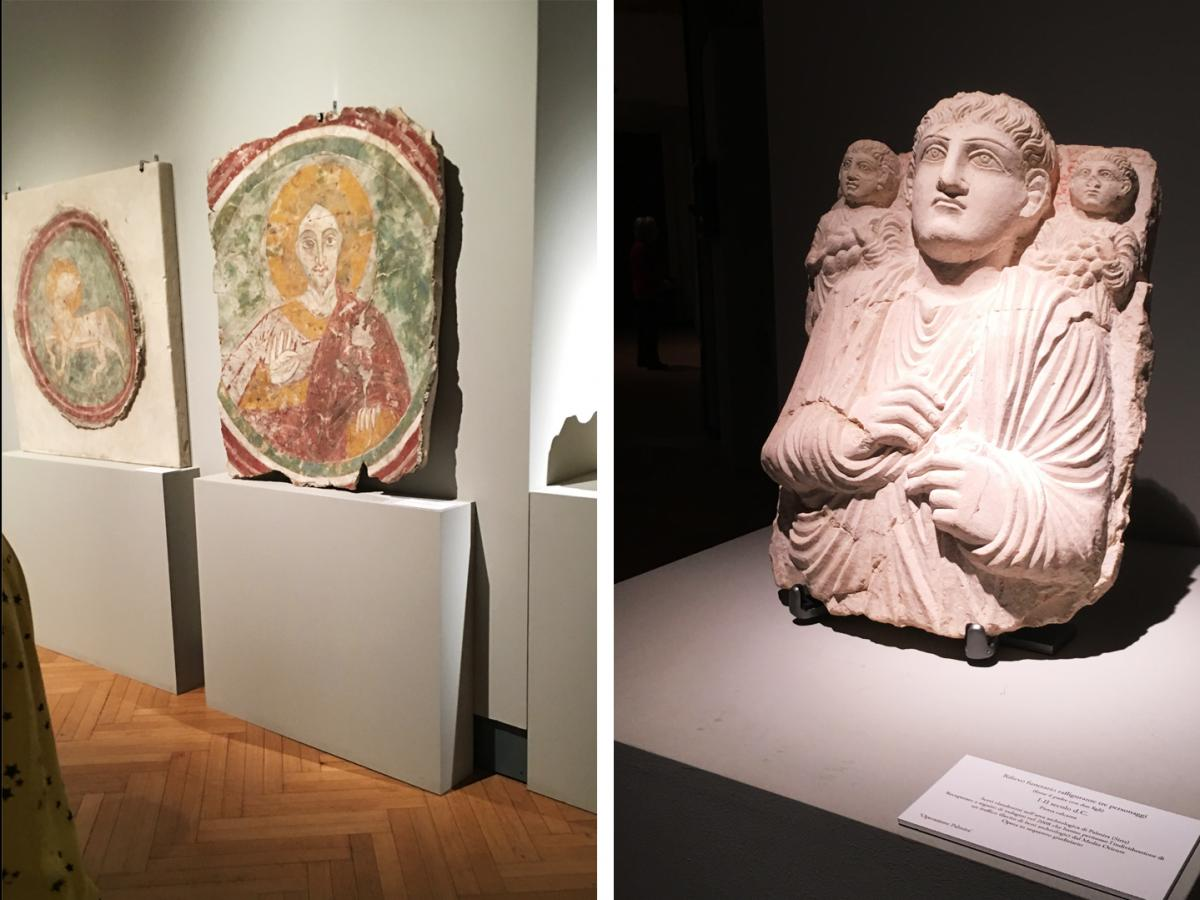 (Left) Two medieval frescoes were recovered after being stolen from a church in Guidonia, Italy, in 1978. (Right) A funerary sculpture dating back some 2,000 years was smuggled out of Palmyra, Syria.