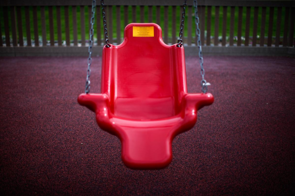 This accessible swing is designed to support children with physical disabilities.