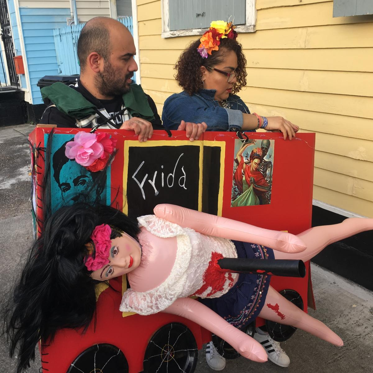 Krewe members Eduardo Courtade and Maria Albarran grew up in Mexico before moving to New Orleans. Their costume depicts Frida Kahlo's near-death accident as a teen.