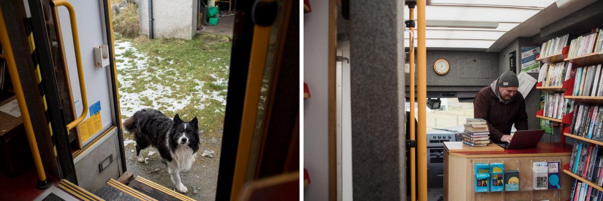 Left: Driver Iain Mackenzie knows his route so well that before driving to customer Donald John's property, he opens the side door to prevent John's dog from chewing at the bottom of the doors. Right: Iain Mackenzie checking out books for a customer on th