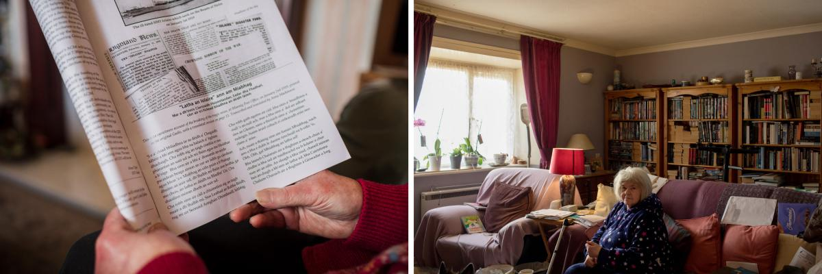 """Left: Annabel Mackinnon reads the bimonthly Uig newspaper in Ardroil, Uig. Mackinnon has used the library service since it began in 1952. Right: Marion Litterick, a retired social worker, at her home in Leverburgh. """"The importance of the library is not ju"""