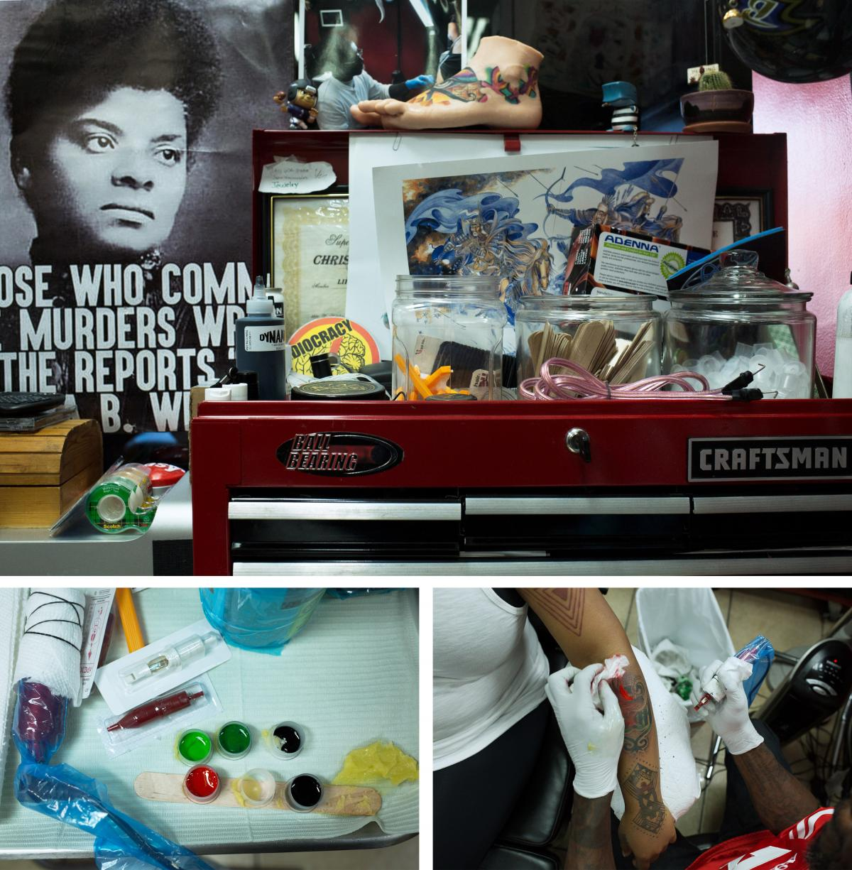 (Top) Mensah encourages the artists in his shop to decorate their workspaces with things they like. (Left) He lays out colors and tools at his station before starting Afrique's tattoo (right).