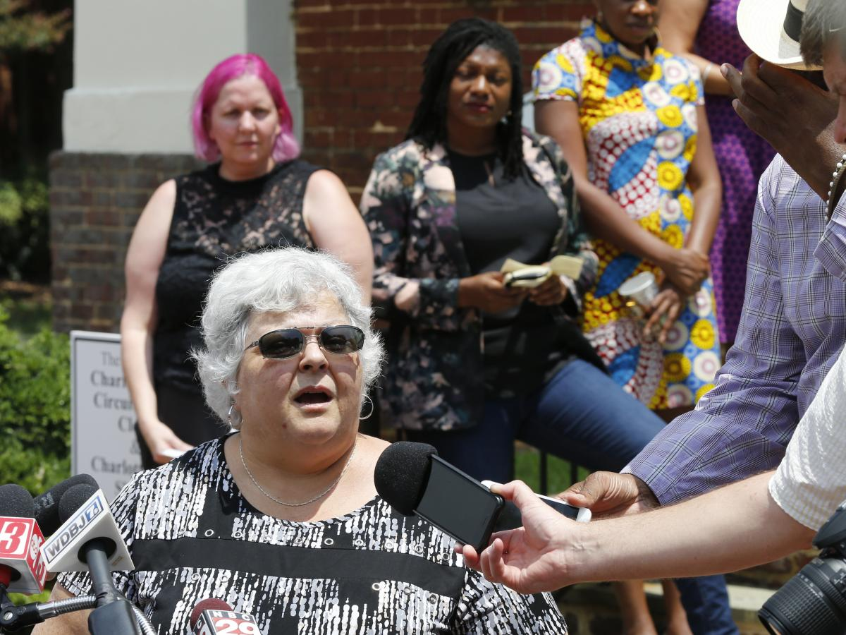 Susan Bro, mother of Heather Heyer, who was killed during the Unite the Right rally in 2017, speaks to reporters after the sentencing of James Alex Fields Jr., at General District Court in Charlottesville, Va., on July 15, 2019.