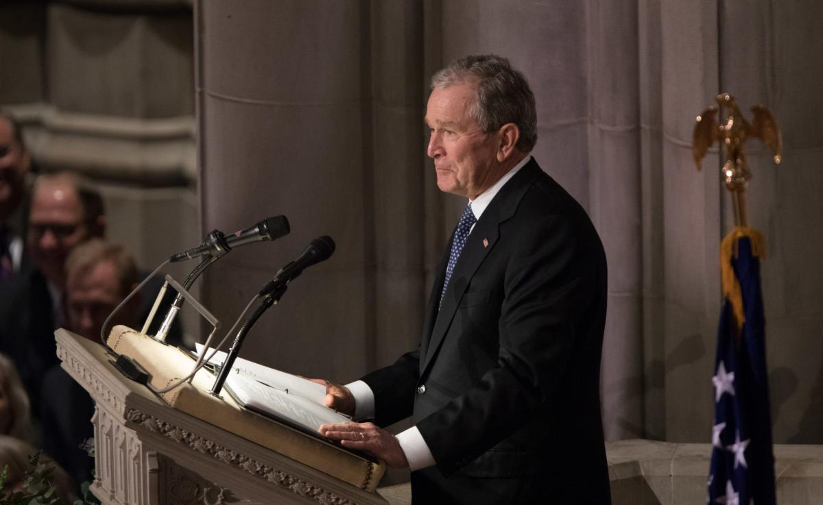 Former President George W. Bush eulogizes his father, former President George H.W. Bush.