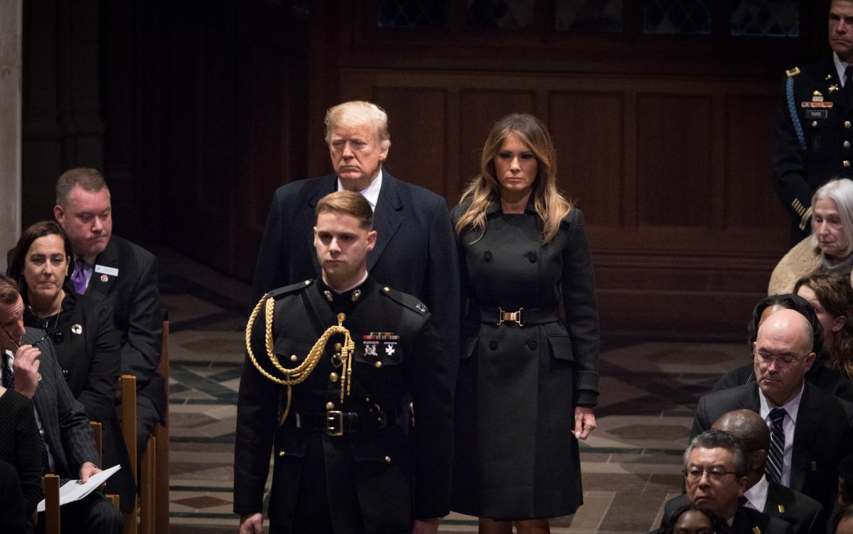 President Donald Trump and First Lady Melania Trump arrive for the funeral for former President George H.W. Bush.