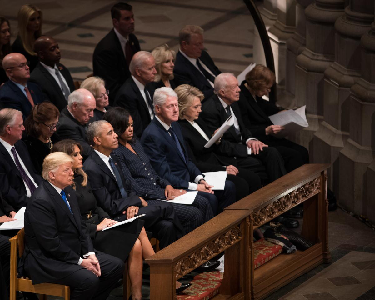 President Donald Trump, First Lady Melania Trump, former President Barack Obama, former First Lady Michelle Obama, former President Bill Clinton, former First Lady Hillary Clinton, former President Jimmy Carter and former First Lady Rosalynn Carter attend