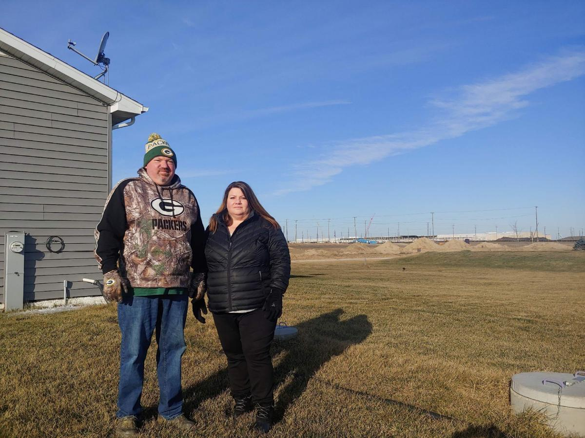 Jim and Kim Mahoney can see Foxconn construction from their home in Mount Pleasant, Wis. State and local officials offered nearly $4 billion in incentives to lure the company to Wisconsin. Kim says they haven't created the promised jobs.