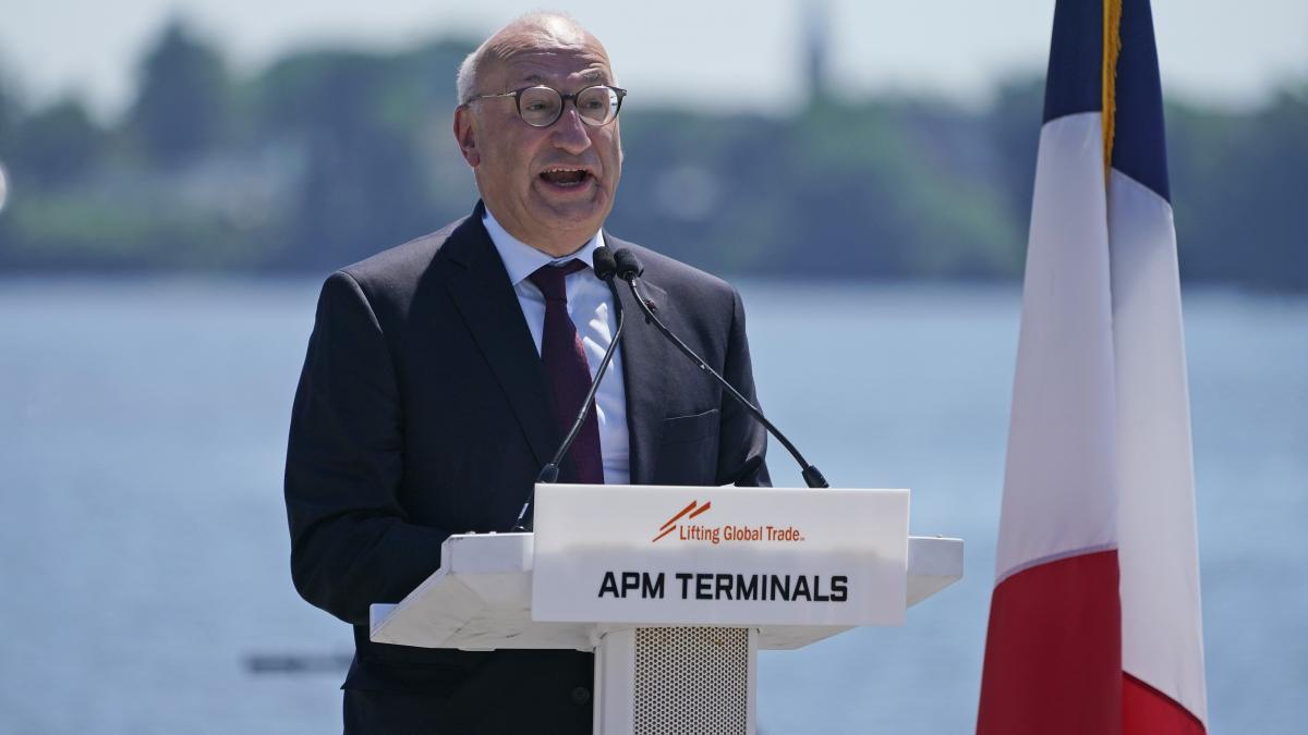 The French ambassador to the United States, Philippe Etienne, speaks at an event at the Port of New York and New Jersey in Elizabeth, N.J., in June. After a brief recall home, it appears he will heading back stateside.