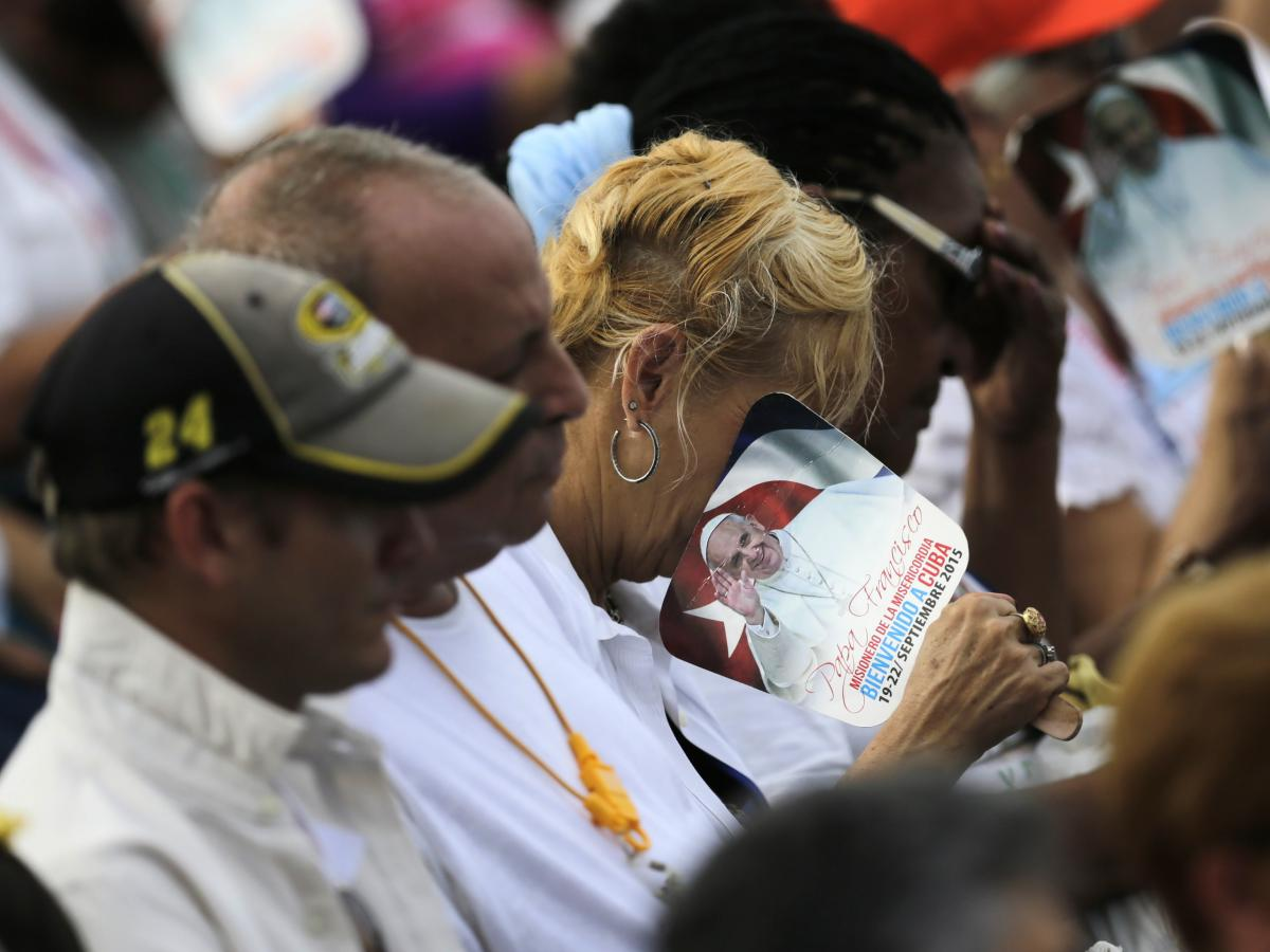 Catholic faithful attend the first mass of Pope Francis' visit to Cuba in Havana's Revolution Square, on Sunday.