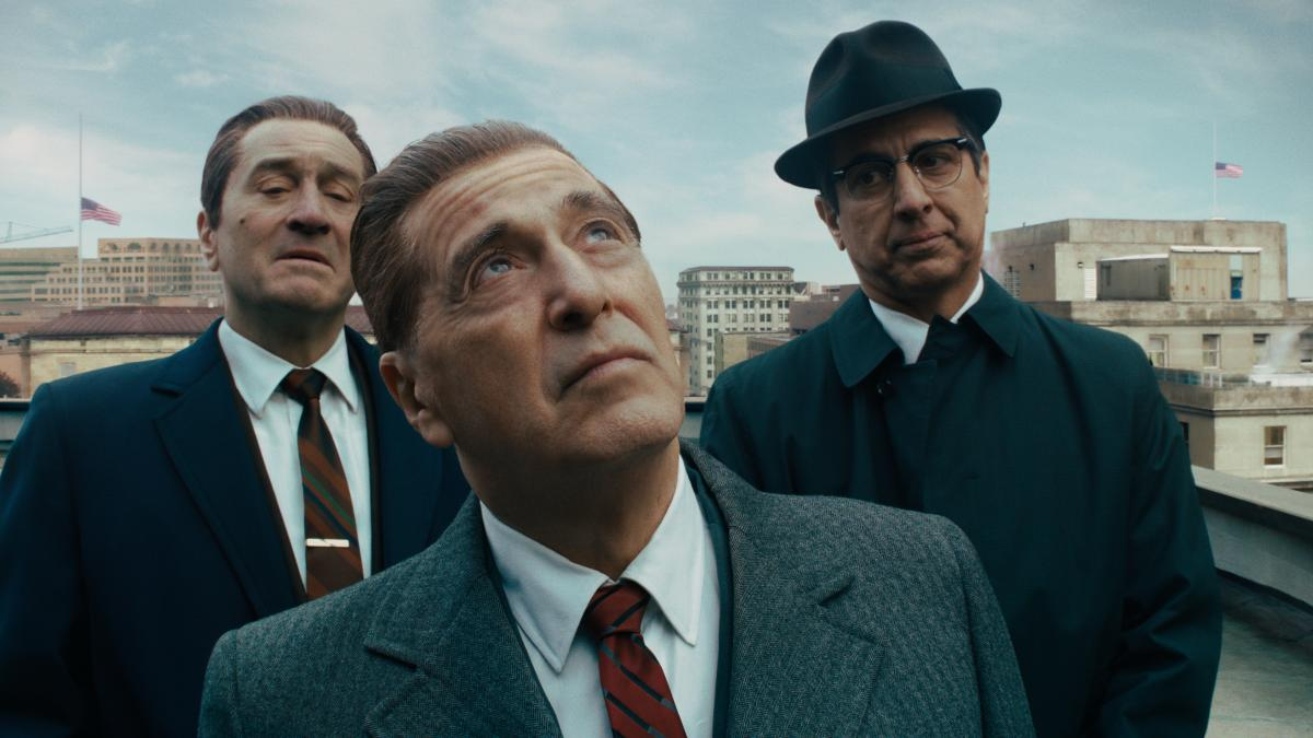 Robert De Niro (from left) stars with Al Pacino and Ray Romano as a mob hit man in Martin Scorsese's The Irishman.
