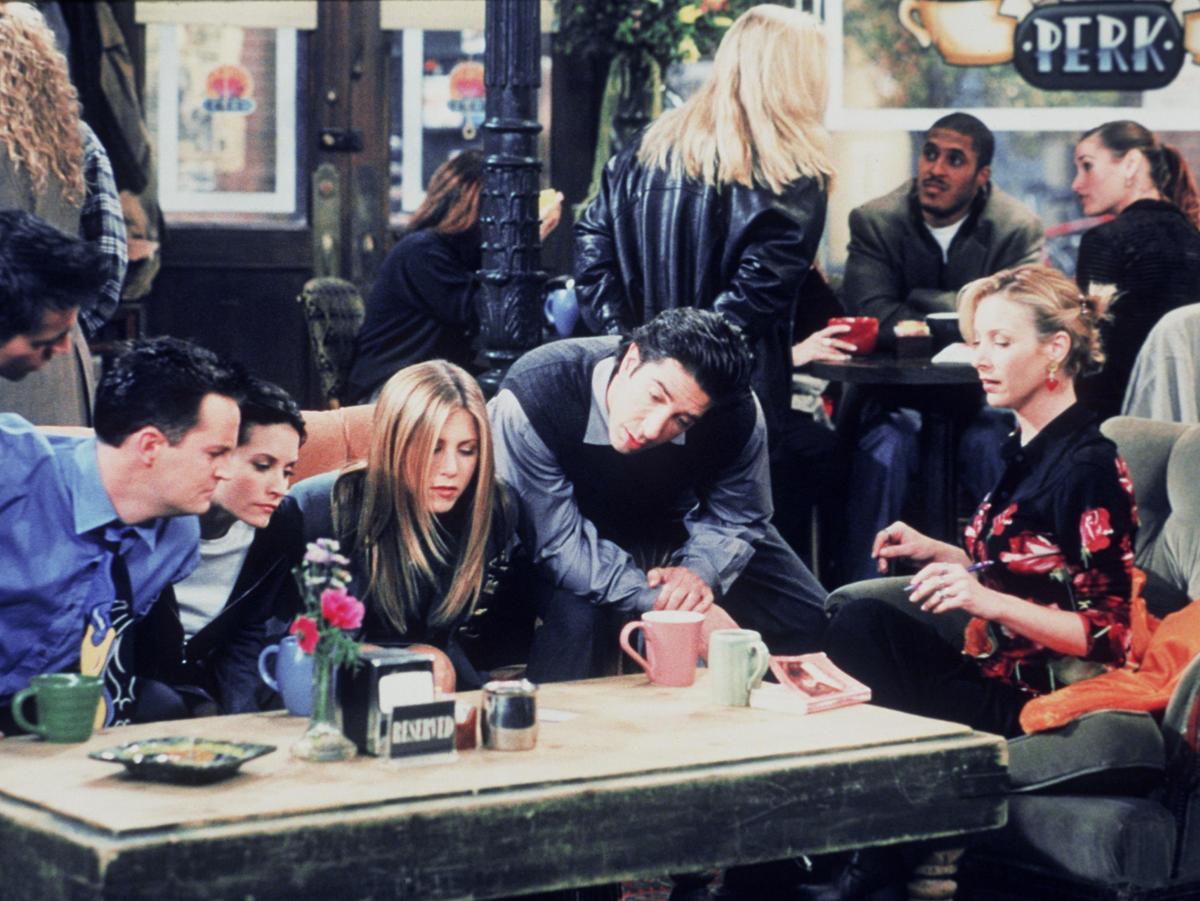 The six Manhattan singles of Friends (from left, Joey (Matt LeBlanc), Chandler (Matthew Perry), Monica (Courteney Cox), Rachel (Jennifer Aniston), Ross (David Schwimmer) and Phoebe (Lisa Kudrow) congregate at Central Perk in this 1999 still photo from the