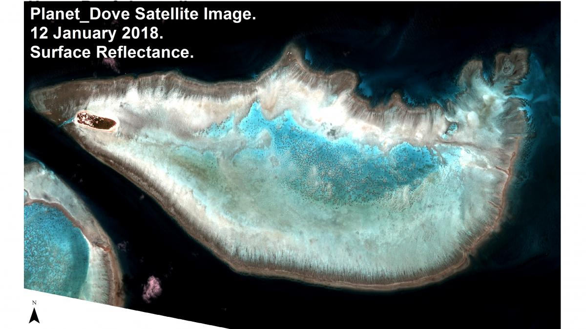 A satellite image shows the reef off Australia's Heron Island. Vulcan is using satellite images to map all of the world's tropical, shallow-water reefs. The project is set to be completed by the middle of 2021.
